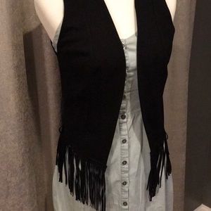 NWT Eight Sixty Black Fringe Vest From Evereve. XS